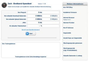 AVM Zack Breitband Speedtest